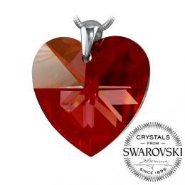 Silvego stшнbrnэ pшнvмsek se Swarovski(R) Crystals srdce 28mm Red Magma
