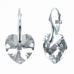 Stшнbrnй nбuљnice srdce 18mm Black Diamond se Swarovski Elements
