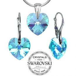 SILVEGO st��brn� set Modr� Srdce 14mm se Swarovski(R) Crystals