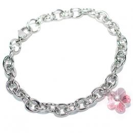 Ocelovэ nбramek se Swarovski Elements Kvмtina 14mm Light Rose