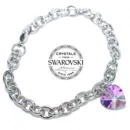 Silvego ocelový náramek Srdce 14mm se Swarovski® Crystals Vitrail Light