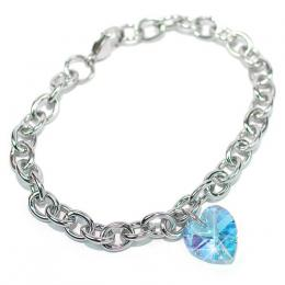 Ocelov� n�ramek Srdce 14mm se Swarovski Elements Aquamarine AB - zv�t�it obr�zek