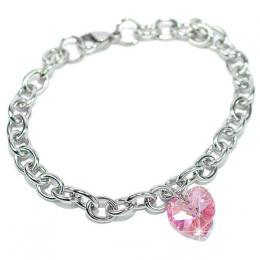 Ocelovэ nбramek se Swarovski Elements Srdce 14mm Light Rose