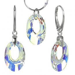 Stшнbrnэ set Helios 20mm Crystal AB se Swarovski Elements