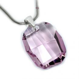 St��brn� p��v�sek Graphic 28mm Light Amethyst se Swarovski Elements