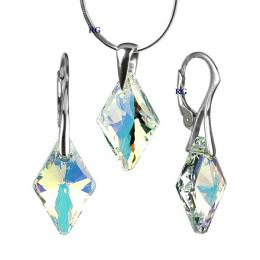 St��brn� set Rhombus 19mm Crystal AB se Swarovski Elements