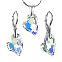 SILVEGO stшнbrnэ set Devoted 2 U Heart 17mm Crystal AB se Swarovski® Crystals