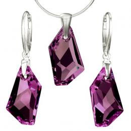 Stшнbrnэ set De-Art Crystal Amethyst 24mm se SWAROVSKI ELEMENTS