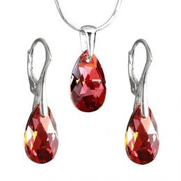 St��brn� souprava Kapka 16mm Crystal Red Magma se Swarovski Elements