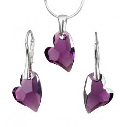 Stшнbrnэ set Devoted 2 U Heart 17mm Amethyst se Swarovski Elements