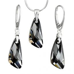 Stшнbrnэ set Wing 23mm Crystal Silver Night se Swarovski Elements