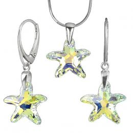 St��brn� set Starfish 16mm Crystal AB se Swarovski Elements