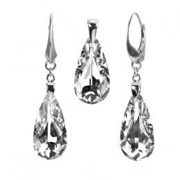 SILVEGO støíbrný set kapka Argent se Swarovski® Crystals