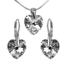 SILVEGO st��brn� set Xilion Heart 14mm Argent  se Swarovski(R) Crystals