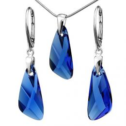 St��brn� set Wing 23mm Capri Blue se Swarovski Elements