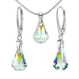 St��brn� souprava XIRIUS Raindrop 14mm Crystal AB se Swarovski Elements