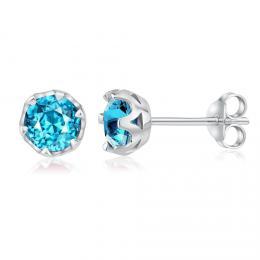 SILVEGO støíbrné náušnice pecky s pøírodním modrým topazem Swarovski Gemstones - zvìtšit obrázek