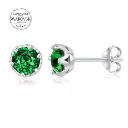 SILVEGO st��brn� n�u�nice pecky s p��rodn�m zelen�m topazem Swarovski Gemstones