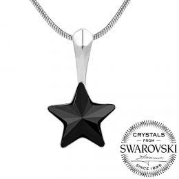 SILVEGO st��brn� p��v�sek �ern� hv�zda se Swarovski(R) Crystals