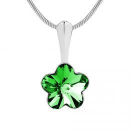 St��brn� p��v�sek kv�tina se Swarovski Crystals 10 mm-zelen�
