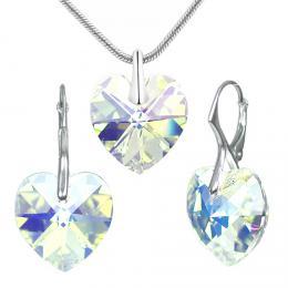 SILVEGO støíbrná souprava Srdce Crystal AB se Swarovski® Crystals