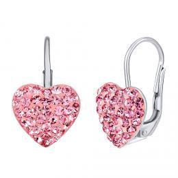 SILVEGO støíbrné náušnice srdce rùžové se Swarovski® krystaly - zvìtšit obrázek