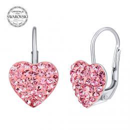 SILVEGO støíbrné náušnice srdce rùžové se Swarovski® krystaly