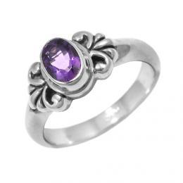 Elegantnн stшнbrnэ prsten Bali s pravэm ametystem