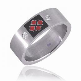 Prsten se zirkony - ocel - VЭPRODEJ