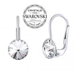 SILVEGO støíbrné náušnice se Swarovski® Crystals 8 mm rivoli èiré