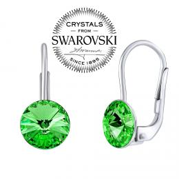 SILVEGO st��brn� n�u�nice se Swarovski® Crystals rivoli zelen� 8mm