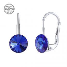SILVEGO støíbrné náušnice se Swarovski® Crystals rivoli modré 8mm