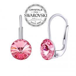 SILVEGO støíbrné náušnice se Swarovski® Crystals rivoli rùžové 8mm