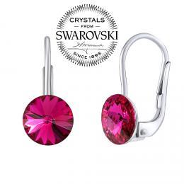 SILVEGO støíbrné náušnice se Swarovski® Crystals rivoli fuchsie 8mm
