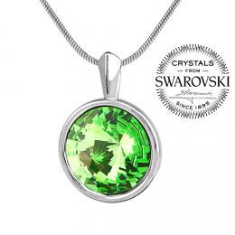 SILVEGO st��brn� p��v�sek se Swarovski(R) Crystals zelen�m rivoli 12mm