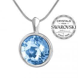 SILVEGO st��brn� p��v�sek se Swarovski(R) Crystals aquamarine 12mm