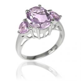 Origin�ln� st��brn� prsten s polodrahokamem Ametyst