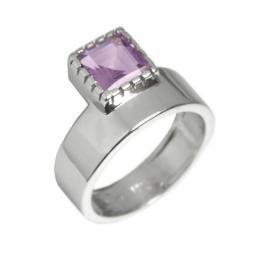St��brn� luxusn� prsten s prav�m ametystem