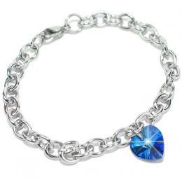 Ocelov� n�ramek srdce 14mm Sapphire se SWAROVSKI ELEMENTS