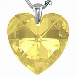 SILVEGO st��brn� p��v�sek srdce 40mm - Light Topaz se Swarovski Crystal