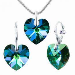 SILVEGO souprava Srdce Bermuda Blue se Swarovski(R) Crystals