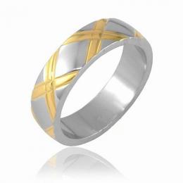 Ocelov� prsten s pozlacen�m - V�PRODEJ