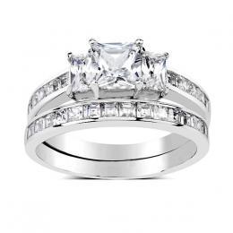 Dvojitэ prsten ze stшнbra se Swarovski Zirconia