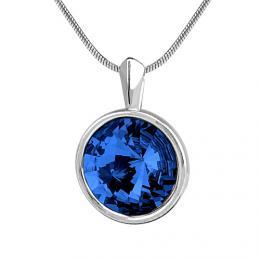 SILVEGO st��brn� tmav� modr� p��v�sek s krystalem Swarovski rivoli 12mm