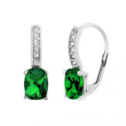 St��brn� n�u�nice Emerald 6x8 mm se Swarovski Elements