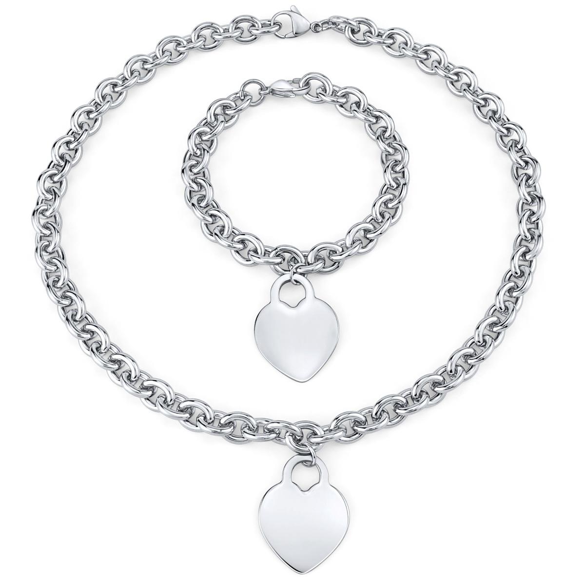 1fad86a0b Set šperků pro ženy z chirurgické oceli náhrdelník a náramek s přívěskem  srdce - zvětšit obrázek