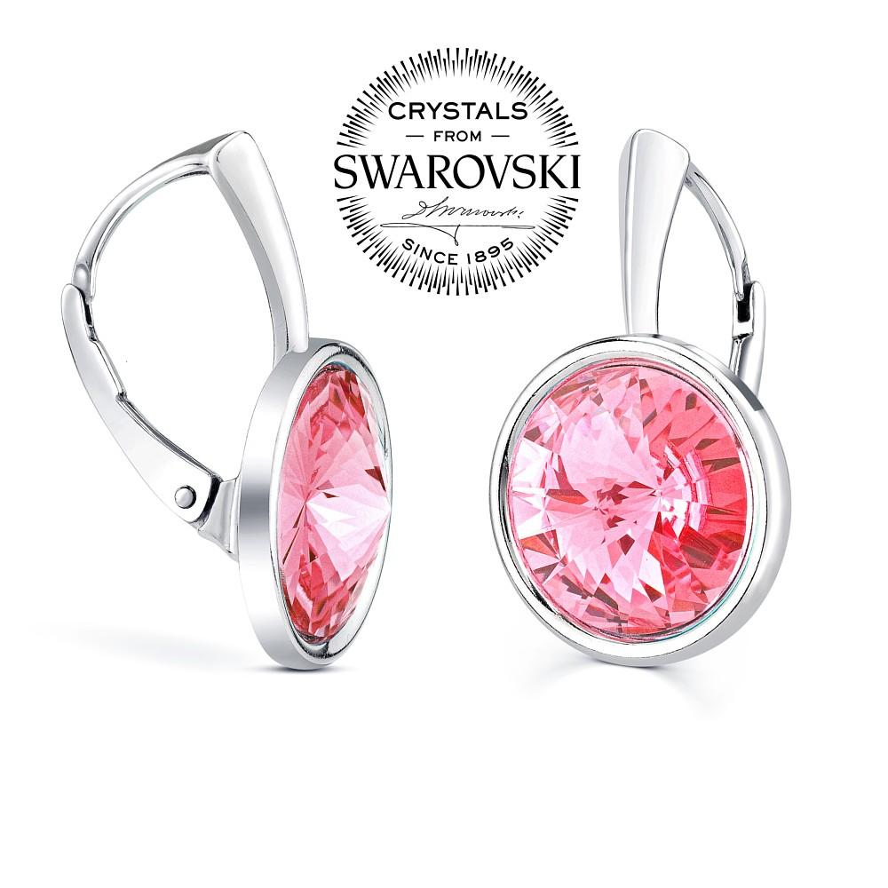 SILVEGO stříbrné náušnice růžové se Swarovski(R) Crystals rivoli 12mm -  zvětšit obrázek 2ffa7867128