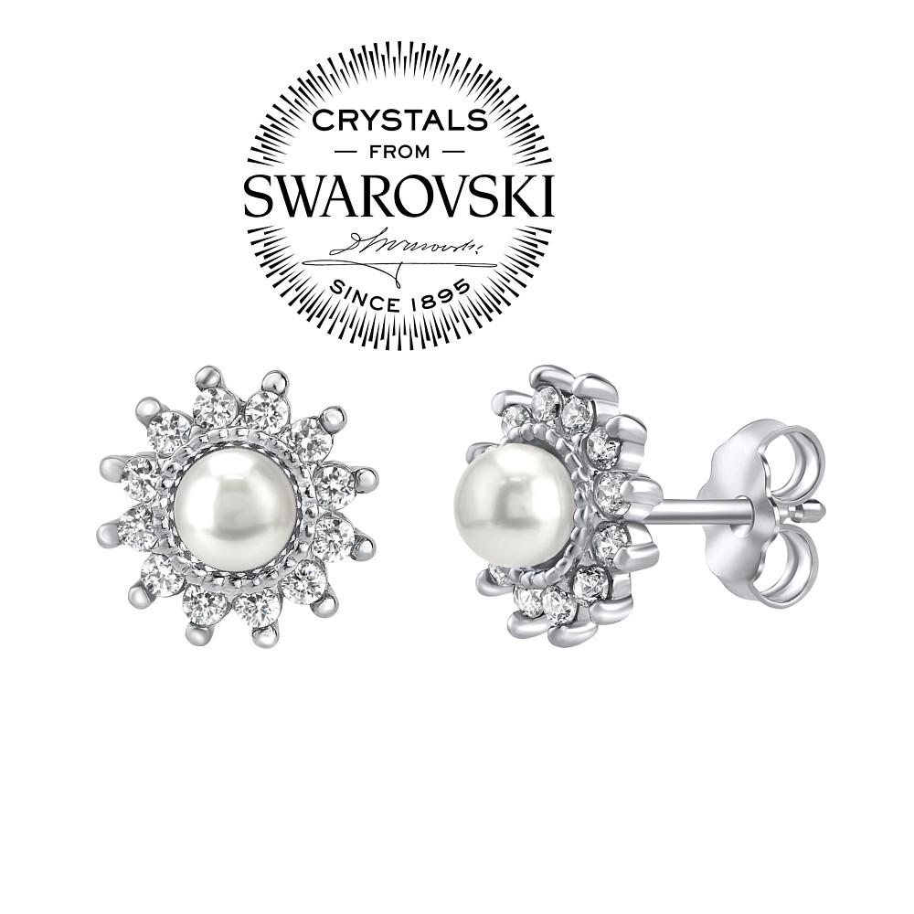 44e33dce2 SILVEGO stříbrné náušnice s bílou perlou Swarovski(R) Crystals na puzetu -  zvětšit obrázek
