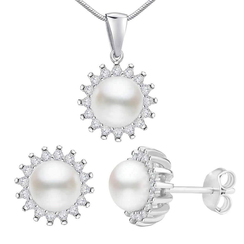 Stříbrný set šperků VERA náušnice a přívěsek s bílou přírodní perlou -  zvětšit obrázek e75d16bb72c