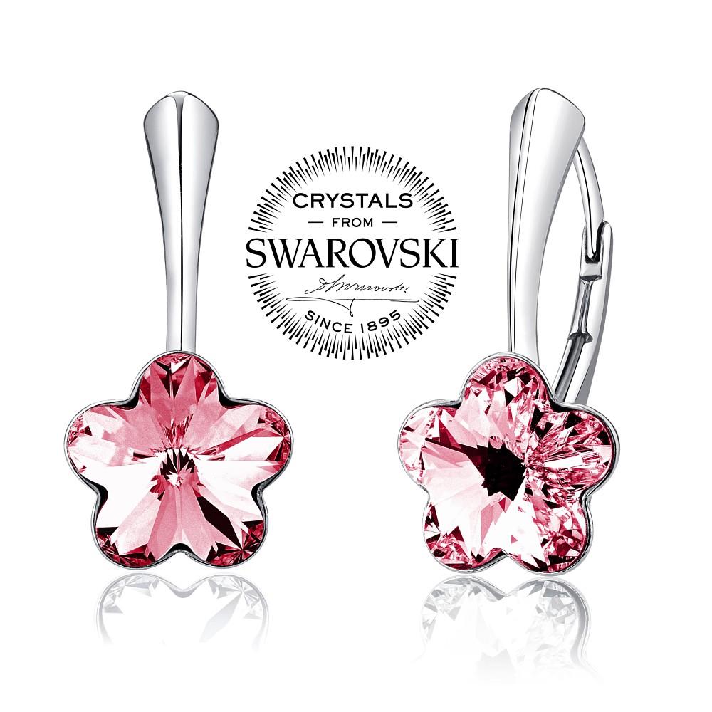 SILVEGO stříbrné náušnice se Swarovski(R) Crystals květ růžový - zvětšit  obrázek 3ab939baf83